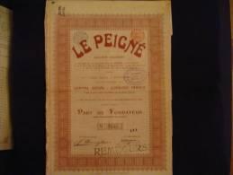 """Part De Fondateur""""Le Peigné"""" Dison Verviers 1911 Textile Bon état.. - Textiel"""