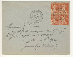 (C05) - SEMEUSE Y&T N°147 X4 - LETTRE LE HAVRE SPECIAL => ARMEE BELGE GUINES EN CALAISIS 1915 - France