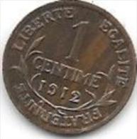 +france 1 Centime 1912  Km 840  Xf+ - A. 1 Centime