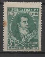 ARGENTINA 1945 Rivadavia´s Death Centenary . - 3c. - Bernardino Rivadavia MH RUST SPOT - Unused Stamps