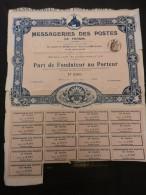 MESSAGERIES DES POSTES DE FRANCE Pat De Fondateur - Transports