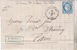 1872 Lettre De Vincennes Pour Paris Oblit GC 4820 La Varenne Ste Hilaire & Convoyeur Station Vincennes P La V 4ème TB ét - Marcophilie (Lettres)