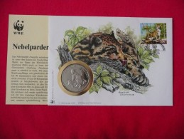 WWF Malaysia Clouded Leopard Nebelparder Panthere  Coin Cover Numisbrief Numiscover Envelope Medallion - W.W.F.