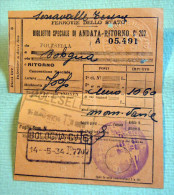 RARO FASCIO BIGLIETTO SPECIALE  FERROVIE POLESSELLA BOLOGNA 1934 - Ferrovie