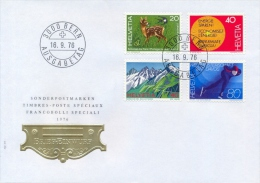 Switzerland 1976 FDC Wildlife Protection - Energy Conservation - Pizzo Lucendro And Pizzo Rotondo - Skating - FDC