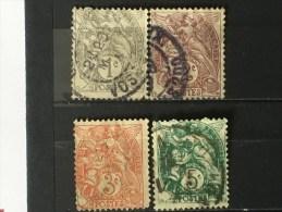 FRANCE YT  N° 107.108.109.111. Oblitéré . 1900. Côte 1.75 € - 1900-29 Blanc