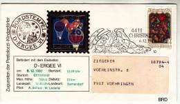 Österreich, 20. Weihnachts Ballonpost, Mit Vignette, Bordstempel Und Sonderstempel Christkindl, 1980 - Ballonpost