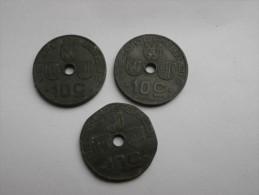 Belgique 3 Pieces De 10 CENTIMES  Zinc       1941 -42- 43 En Etat TBà TTB - 02. 10 Centimes