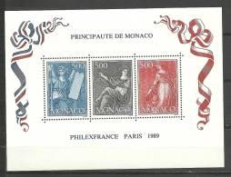 MONACO- HOJATAS BLOQUE  PHILEXFRANCE PARIS I989  Nº 47 - Blocks & Kleinbögen