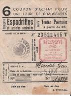 Ticket De Rationnement 1946 - Coupon D'Achat Pour Une Paire De Chaussures ( Espadrilles )-Mairie De Versailles - Unclassified