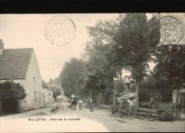 belle cpa  de 1904  Arc s/Tille. Rue de la roulotte, bien anim�e avec SCIEURS de BOIS
