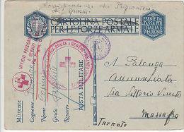 Italy: Prisoner Of War Postcard To Massafara, Taranto, With Red Cross Cachet - Militaria