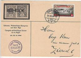 Switzerland: Postcard Of Philatelic Congress, Rigi-Kaltbad - Zurich, 24 Jun 1944 - Trains