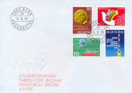 Switzerland 1979 FDC Numismatic Society - Child Year - Radio Amateurs - European Space Agency - FDC