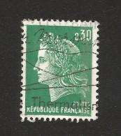 N° 1611 Marianne Cheffer  Une Bande Phosphore (1970) Grain De Beauté Dans Le Coup Oblitéré Timbre FRANCE 1969 - Curiosidades: 1970-79 Usados