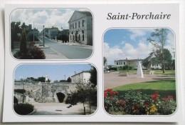 CPM NON VOYAGEE SAINT PORCHAIRE RE CENTRALE MAIRIE EGLISE  PONT NAPOLEON  STATUE PIERRE LOTI - Sonstige Gemeinden