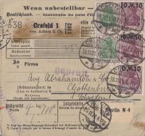 DR Paketkarte Mif Minr.2x 150, 13x 157 Crefeld 18.11.21 Gel. Nach Schweden - Deutschland