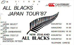 Télécarte  JAPON RUGBY (659) ALL BLACKS  Sport Japan Phonecard * Telefonkarte Japan  * SPORT * - Sport