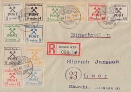 Lokalausgabe Großräschen R-Brief Mif Minr.31-42 Großräschen 14.2.46 Gel. Nach Leer - Zone Soviétique