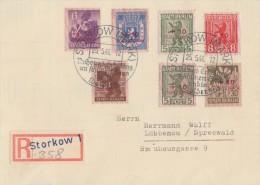 Lokalausgabe Storkow R-Brief Mif Minr.1-8 SST Storkow 25.5.46 Gel. Nach Lübbenau - Sowjetische Zone (SBZ)