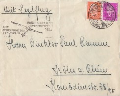 DR Briefvorderseite Mif Minr.435,466 Wasserkuppe 23.7.32 Mit Segelflugzeug Befördert - Deutschland