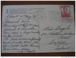 1913 Gand To Dublin Ireland Eire Expo Int Gent Postcard Carte Postale - Belgien
