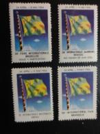 1954 Foire Bruxelles 4 Different Languages Flag Vignette Poster Stamp Label Belgium - Erinnophilie