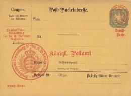 Württemberg Post-Packetadesse 18 Kreuzer Mit Überdruck Dienstsache - Wuerttemberg