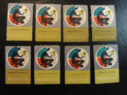 Exposition Universelle 1958 8 Different Languages Denteles Vignette Poster Stamp Label Belgium - Erinnophilie