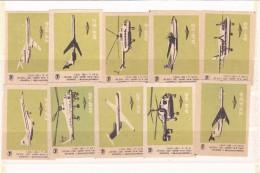RUSSIA --- MATCHBOX LABELS -- 10x  HELICOPTER,AIRPLANE -- 1970 - Zündholzschachteletiketten