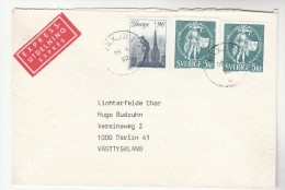 1980 EXPRESS Vaxjo SWEDEN Stamps COVER To Germany, Express Label - Sweden