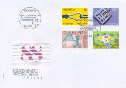 Switzerland 1988 FDC Accident Prevention - Metalworkers Association - Topography Office - International Red Cross Museum - FDC