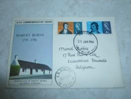 Carte Grande Bretagne 1966 Cachet Dundee - La Hulpe (robert Burns) - Lettres & Documents