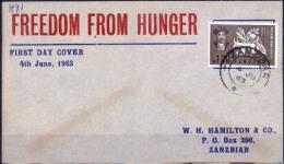 Zanzibar 1963 FDC YT257 FAO. Campaña Por Un Mundo Sin Hambre. See Desc. - Tegen De Honger