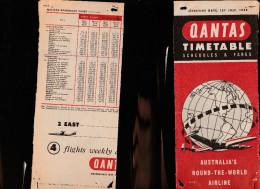 DOC2) QUANTAS AUSTRALIAN'S HALF TIMETABLE 1958 HALF ONLY - Aviazione Commerciale