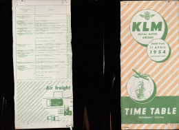 DOC2) KLM ROYAL DUTCH AIRLINES   HALF TIMETABLE 1954 HALF ONLY TIMETABLE - Aviation Commerciale