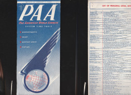 DOC2) PAA PAN AMERICANWORLD AIRWAYS HALF TIMETABLE 1955 HALF ONLY TIMETABLE - Aviazione Commerciale