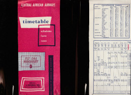 DOC2) CENTRAL AFRICAN AIRWAYS HALF TIMETABLE 1958 HALF ONLY TIMETABLE - Aviazione Commerciale
