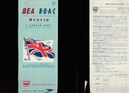 DOC2) BOAC BRITISH EUROPEAN AIRWAYS HALF TIMETABLE 1955 HALF ONLY TIMETABLE - Aviazione Commerciale