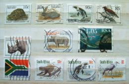 South Africa 1993 - 1998 Turtle Rabbit Penguin Raptor Bird Rhino Ceros Flag Monkey Harbor Crane - Used Stamps