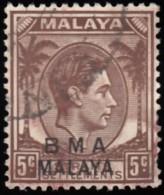 "STRAITS SETTLEMENTS - Scott #259 King George VI ""Overprinted"" / Used Stamp - Malaya (British Military Administration)"