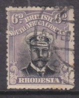 Rhodesia, 1913, George V, Admiral, 6d Black & Mauve, Die I, Perf 14 Used - Southern Rhodesia (...-1964)
