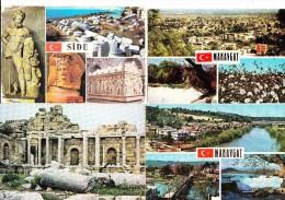 4 POSTCARDS:   ´Side & Manavgat´ -  Turkey/Türkiye   (2 Scans) - Turkije
