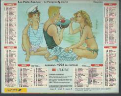 ALMANACH DU FACTEUR 1993 ( CALENDRIER ) LES PORTE-BONHEUR - LE POMPON DU MARIN / LE GUI ( Déssin: RUSECKIS ) - Calendriers