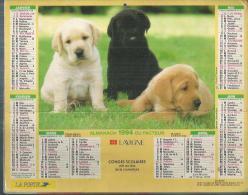 ALMANACH DU FACTEUR 1994 ( CALENDRIER )  JEUNES LABRADORS / CANICHE - Calendriers