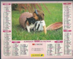 ALMANACH DU FACTEUR 1996 ( CALENDRIER )  ENFANT ET SON CHIEN - Calendriers