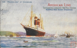 USA - Carte Postale PAQUEBOT - PHILADELPHIA - Posted At Sea 1915 - UNITED STATES SEA. P.O. - Cherbourg - Paquebots