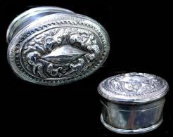 Ancienne Belle Boîte à Bétel Laotienne En Argent / Old Silver Betel Box From Laos - Art Asiatique