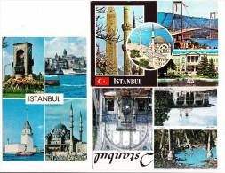 6 USED  POSTCARDS:  - ISTANBUL  - Turkey/Türkiye - MULTIVIEW   -  (3 Scans) - Turkije