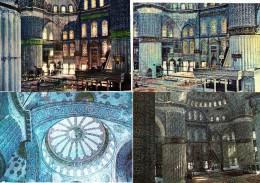 10  POSTCARDS:  THE BLUE MOSQUE - INTERIOR  - ISTANBUL  -Turkey/Türkiye - Mosquée Blue, Interieur -  (4 Scans) - Turkije
